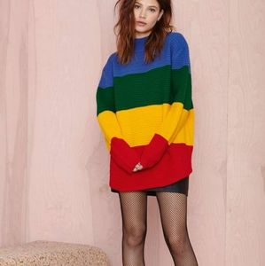 UNIF Rainbow Crayola Color Block Striped Sweater